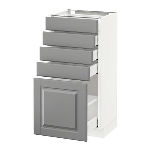 МЕТОД / МАКСИМЕРА Напольный шкаф с 5 ящиками - 40x37 см, Будбин серый, белый