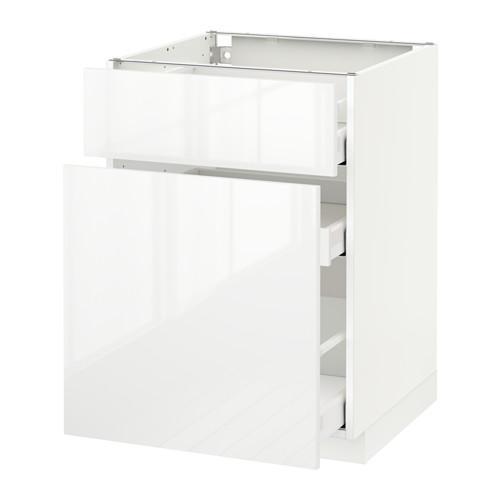 МЕТОД / МАКСИМЕРА Напольн шкаф/выдвижн секц/ящик - 60x60 см, Рингульт глянцевый белый, белый