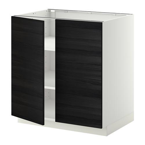 МЕТОД Напол шкаф с полками/2двери - 80x60 см, Тингсрид под дерево черный, белый