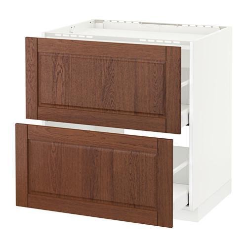 МЕТОД / МАКСИМЕРА Напольн шкаф/2фронт пнл/3ящика - 80x60 см, Филипстад коричневый, белый