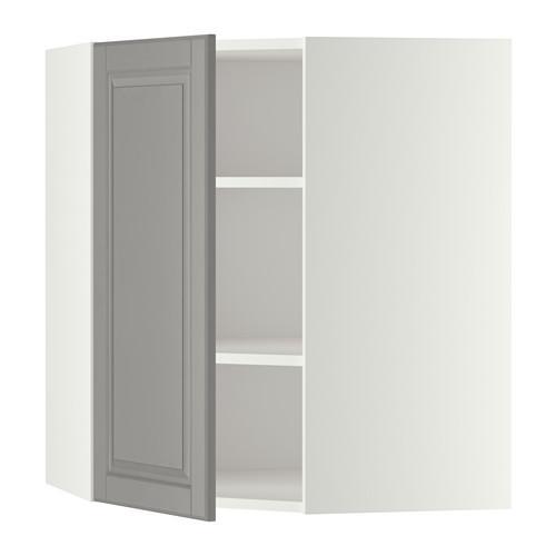 МЕТОД Угловой навесной шкаф с полками - 68x80 см, Будбин серый, белый