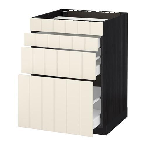 МЕТОД / МАКСИМЕРА Нап шкаф д/духовки/4фасада/3ящика - 60x60 см, Хитарп белый с оттенком, под дерево черный
