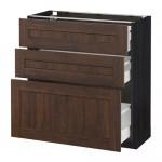МЕТОД / МАКСИМЕРА Напольный шкаф с 3 ящиками - 80x37 см, Эдсерум под дерево коричневый, под дерево черный