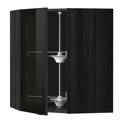 МЕТОД Углов навесн шк с врщ скц/сткл дв - 68x80 см, Ютис дымчатое стекло/черный, под дерево черный