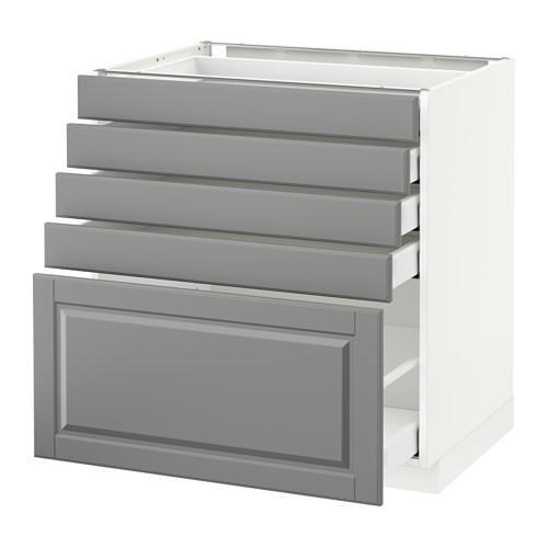 МЕТОД / МАКСИМЕРА Напольный шкаф с 5 ящиками - 80x60 см, Будбин серый, белый
