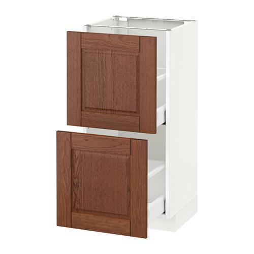 МЕТОД / МАКСИМЕРА Напольный шкаф с 2 ящиками - 40x37 см, Филипстад коричневый, белый