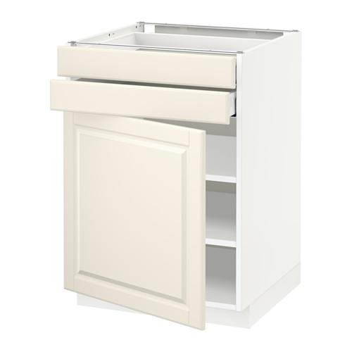 МЕТОД / МАКСИМЕРА Напольный шкаф с дверцей/2 ящиками - 60x60 см, Будбин белый с оттенком, белый