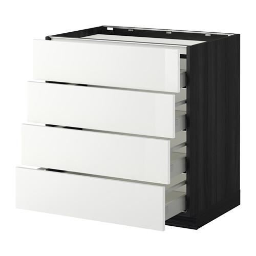 МЕТОД / МАКСИМЕРА Напольн шкаф/4фронт пнл/4ящика - 80x60 см, Рингульт глянцевый белый, под дерево черный