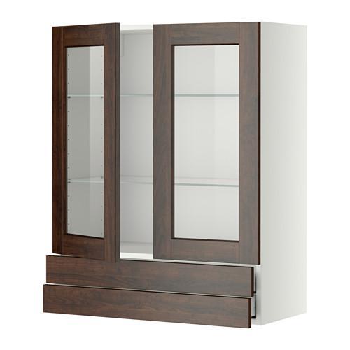 МЕТОД / МАКСИМЕРА Навесной шкаф/2 стек дв/2 ящика - 80x100 см, Эдсерум под дерево коричневый, белый