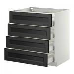 МЕТОД / МАКСИМЕРА Напольн шкаф 4 фронт панели/4 ящика - 80x60 см, Лаксарби черно-коричневый, белый