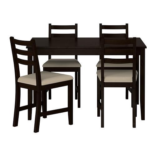 LERHAMN bord och 4 stol svart brun Vittarid beige