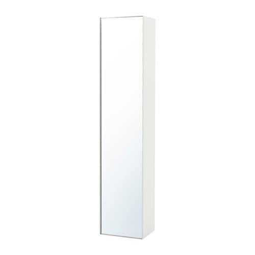 GODMORGON High cabinet with mirror door - glossy white