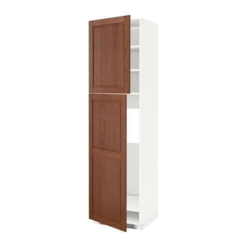МЕТОД Высокий шкаф д/холодильника/2дверцы - 60x60x220 см, Филипстад коричневый, белый