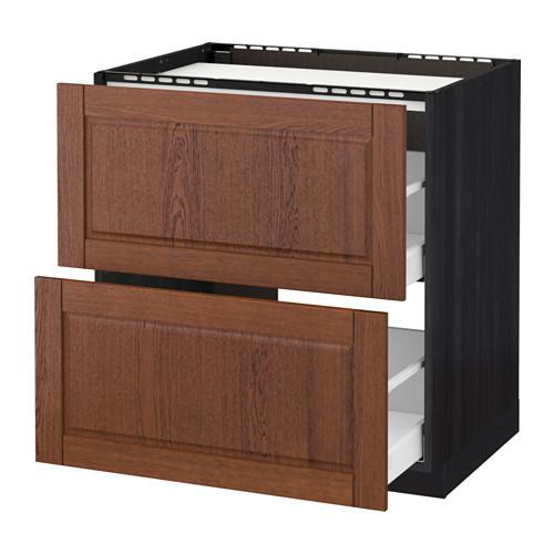 МЕТОД / МАКСИМЕРА Напольн шкаф/2фронт пнл/3ящика - 80x60 см, Филипстад коричневый, под дерево черный