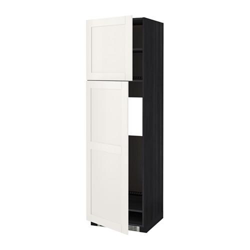 МЕТОД Высокий шкаф д/холодильника/2дверцы - 60x60x200 см, Сэведаль белый, под дерево черный