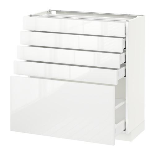 МЕТОД / МАКСИМЕРА Напольный шкаф с 5 ящиками - 80x37 см, Рингульт глянцевый белый, белый