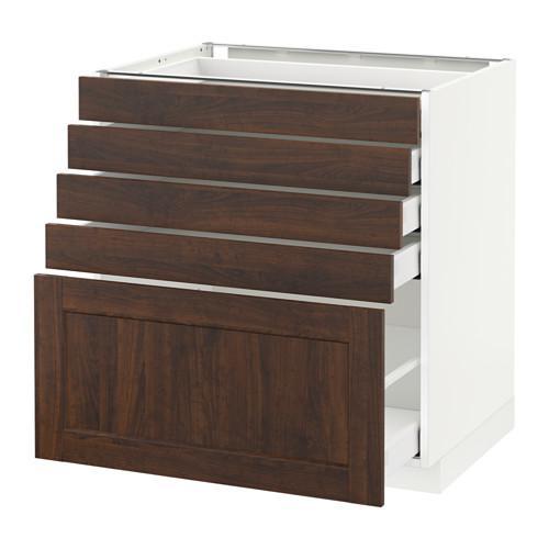 МЕТОД / МАКСИМЕРА Напольный шкаф с 5 ящиками - 80x60 см, Эдсерум под дерево коричневый, белый