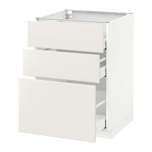МЕТОД / МАКСИМЕРА Напольный шкаф с 3 ящиками - 60x60 см, Веддинге белый, белый