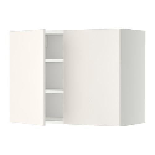 МЕТОД Навесной шкаф с полками/2дверцы - 80x60 см, Веддинге белый, белый
