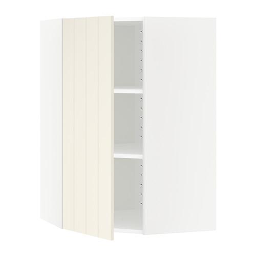 МЕТОД Угловой навесной шкаф с полками - 68x100 см, Хитарп белый с оттенком, белый