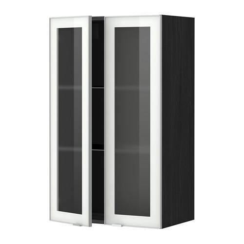 МЕТОД Навесной шкаф с полками/2 стекл дв - 60x100 см, Ютис матовое стекло/алюминий, под дерево черный