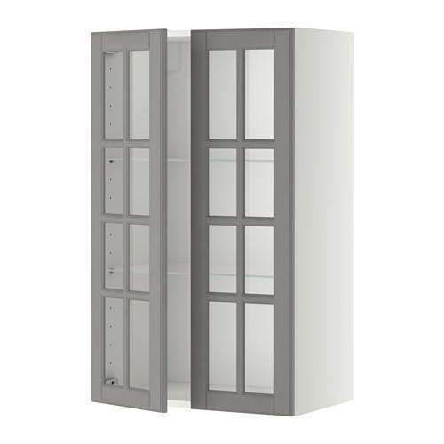 МЕТОД Навесной шкаф с полками/2 стекл дв - 60x100 см, Будбин серый, белый
