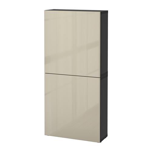 БЕСТО Навесной шкаф с 2 дверями - черно-коричневый/Сельсвикен глянцевый/бежевый