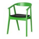 СТОКГОЛЬМ Стул с подушкой на сиденье - зеленый/темно-коричневый