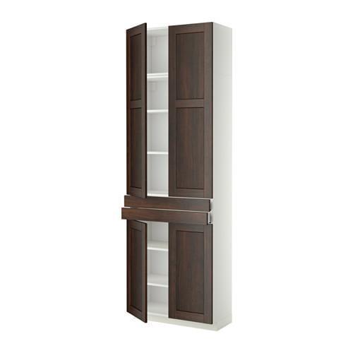 МЕТОД / МАКСИМЕРА Высокий шкаф+полки/2 ящика/4 дверцы - Эдсерум под дерево коричневый, белый