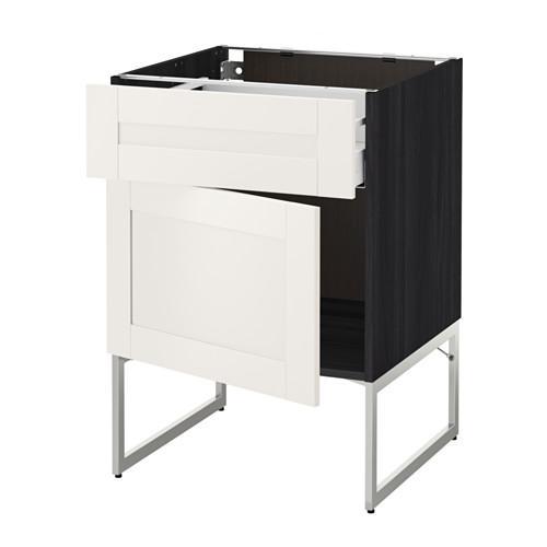 МЕТОД / МАКСИМЕРА Напольный шкаф с ящиком/дверью - 60x60x60 см, Сэведаль белый, под дерево черный
