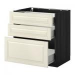МЕТОД / ФОРВАРА Напольный шкаф с 3 ящиками - 80x60 см, Будбин белый с оттенком, под дерево черный