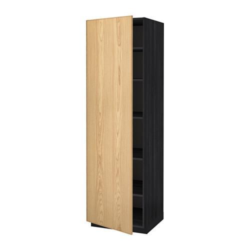 МЕТОД Высок шкаф с полками - 60x60x200 см, Экестад дуб, под дерево черный