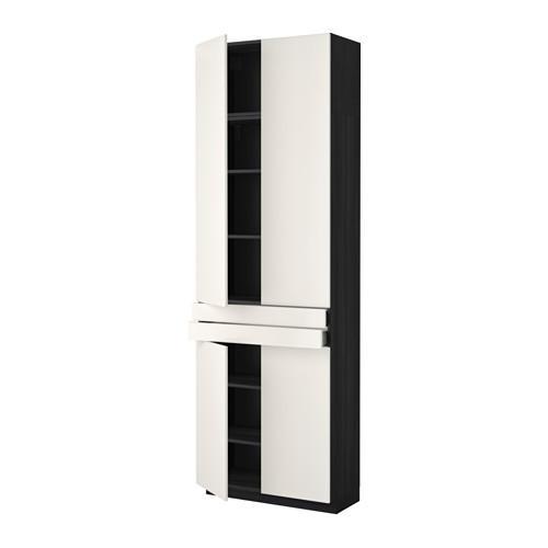 МЕТОД / МАКСИМЕРА Высокий шкаф+полки/2 ящика/4 дверцы - Веддинге белый, под дерево черный