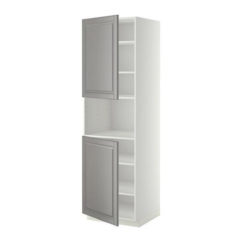 МЕТОД Выс шкаф д/СВЧ/2 дверцы/полки - 60x60x200 см, Будбин серый, белый