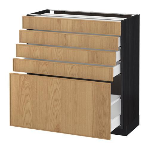 МЕТОД / МАКСИМЕРА Напольный шкаф с 5 ящиками - 80x37 см, Экестад дуб, под дерево черный