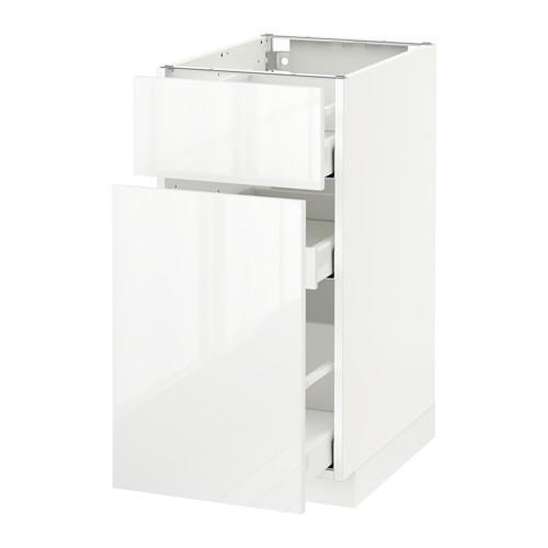 МЕТОД / МАКСИМЕРА Напольн шкаф/выдвижн секц/ящик - 40x60 см, Рингульт глянцевый белый, белый