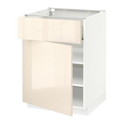 МЕТОД / ФОРВАРА Напольный шкаф с ящиком/дверью - 60x60 см, Рингульт глянцевый кремовый, белый