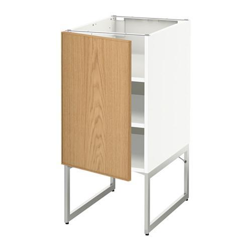МЕТОД Напольный шкаф с полками - 40x60x60 см, Экестад дуб, белый