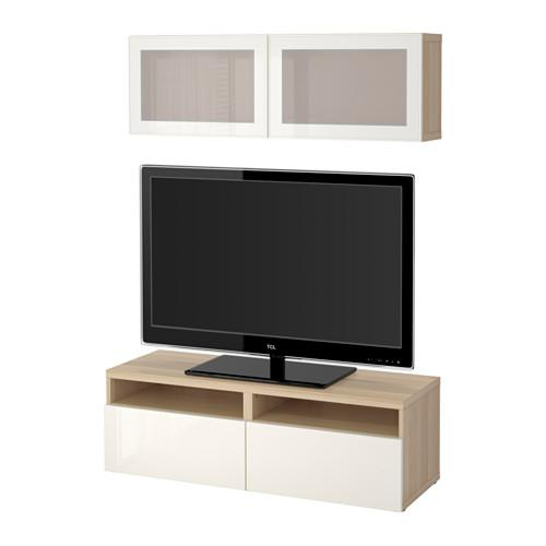 besto tv schrank kombiniert glast ren unter gebleicht eiche selsviken gl nzend wei es. Black Bedroom Furniture Sets. Home Design Ideas