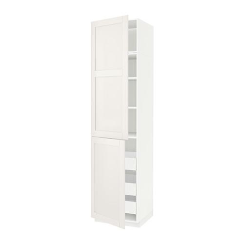 МЕТОД / МАКСИМЕРА Высокий шкаф+полки/3 ящика/2 дверцы - 60x60x240 см, Сэведаль белый, белый