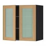 МЕТОД Навесной шкаф с полками/2 стекл дв - 60x60 см, Экестад дуб, под дерево черный