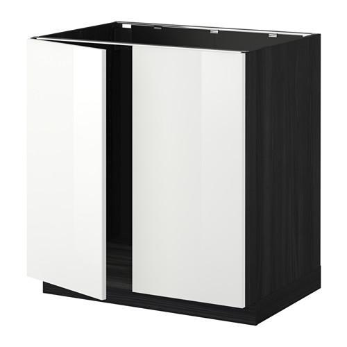 МЕТОД Напольн шкаф д раковины+2 двери - Рингульт глянцевый белый, под дерево черный