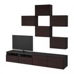 БЕСТО Шкаф для ТВ, комбинация - черно-коричневый/Инвикен черно-коричневый, направляющие ящика,нажимные