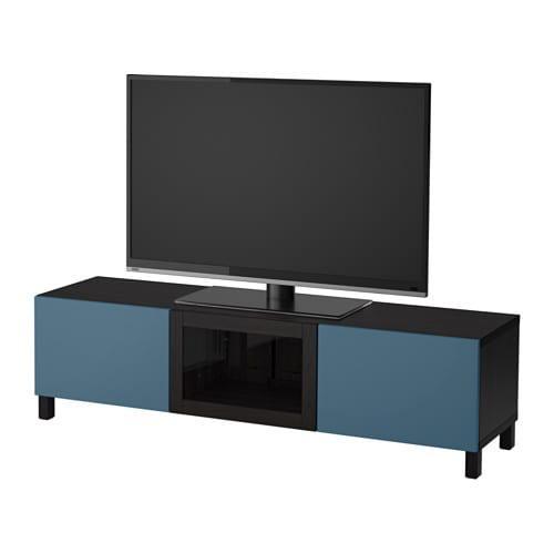 Besta Meuble Tv Avec Tiroirs Et Porte Verre Noir Brun Transparent Bleu Valviken Noir Guides De Tiroir Doucement Fermer