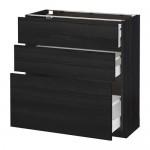 МЕТОД / МАКСИМЕРА Напольный шкаф с 3 ящиками - 80x37 см, Тингсрид под дерево черный, под дерево черный