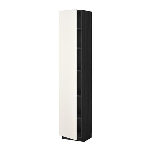 МЕТОД Высок шкаф с полками - 40x37x200 см, Веддинге белый, под дерево черный