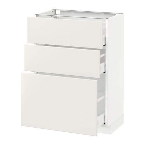 МЕТОД / МАКСИМЕРА Напольный шкаф с 3 ящиками - 60x37 см, Веддинге белый, белый
