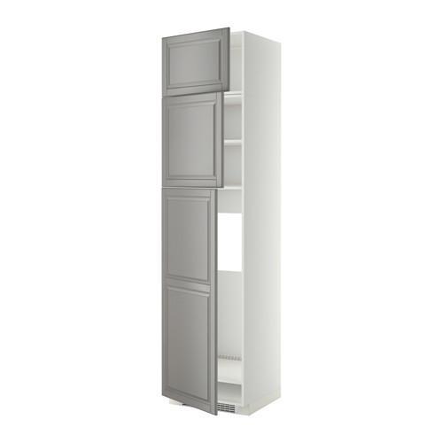 МЕТОД Высокий шкаф д/холодильника/3дверцы - Будбин серый, белый
