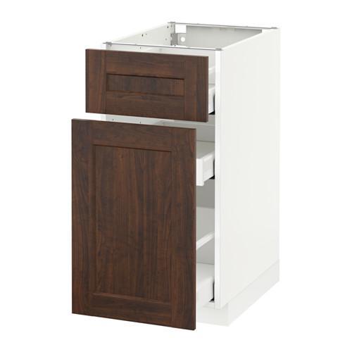 МЕТОД / МАКСИМЕРА Напольн шкаф/выдвижн секц/ящик - 40x60 см, Эдсерум под дерево коричневый, белый