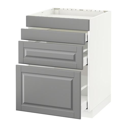 МЕТОД / МАКСИМЕРА Нап шкаф д/духовки/4фасада/3ящика - 60x60 см, Будбин серый, белый